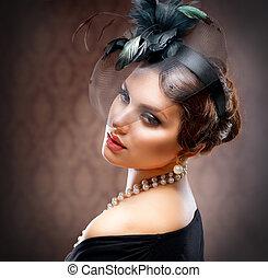 retro, szépség, portrait., szüret, styled., gyönyörű, kisasszony