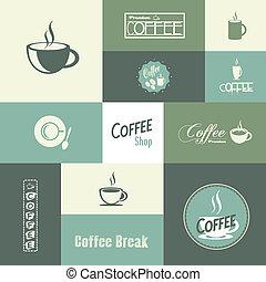 retro, szüret, kávécserje, háttér