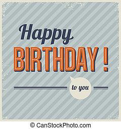 retro, szüret, születésnap kártya, vektor