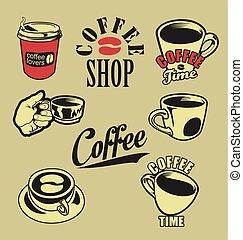 retro, szerelmes pár, gyűjtés, tervezés, kávécserje, szüret