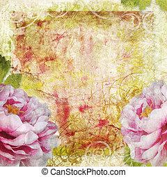 retro, tło, kwiatowy