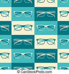 retro, tło, okulary