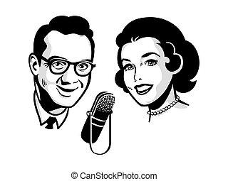 Retro talk show - Female and male presenters on retro talk ...