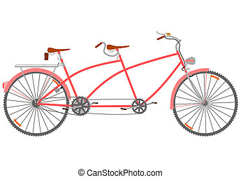 Retro Tandem Bike On A White Background