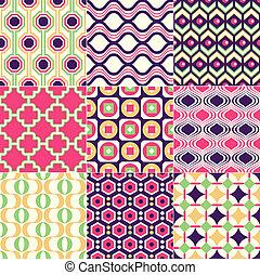 retro, tapéta, seamless, geometriai
