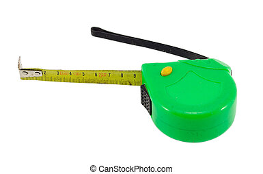 retro tape measure meter tool isolated on white