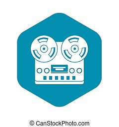 Retro tape recorder icon, simple style