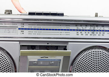Retro tape recorder with the open deck
