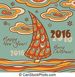 retro, tarjeta, chris, saludo, 2016