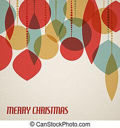 retro, tarjeta de navidad, con, decoraciones de navidad