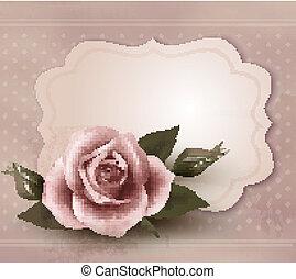 retro, tarjeta, ilustración, saludo, vector, rosa, rose.