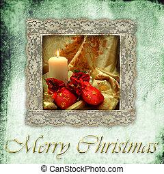 retro, tarjeta, navidad, vela, y, regalos