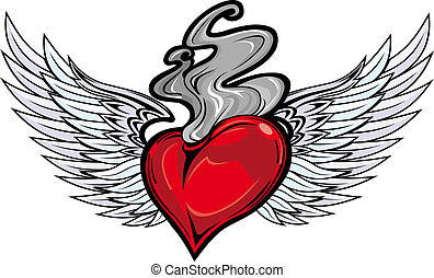 Retro tattoo with heart and fire