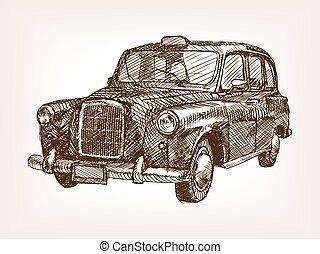 Retro taxi cab hand drawn sketch vector