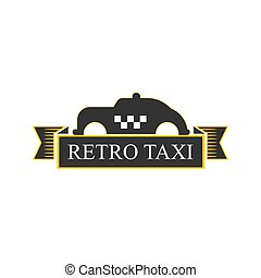 Retro taxi logotype with vintage car in yellow and black