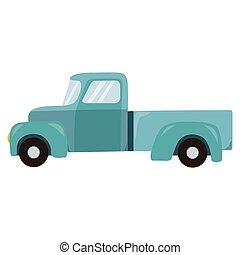 Retro teal truck isolated on white background.