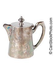 retro teapot or coffee pot, jug isolated on white background