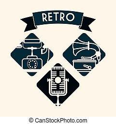 retro, technológia, tervezés
