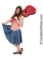 Retro teenage girl with red guitar