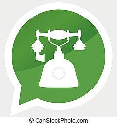 retro, teléfono, icono, pegatina, diseño, plano, símbolo
