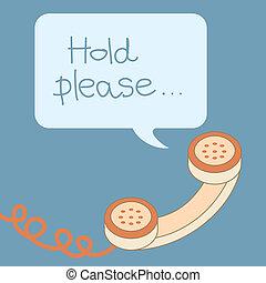 retro, teléfono, manija, con, burbuja, mensaje