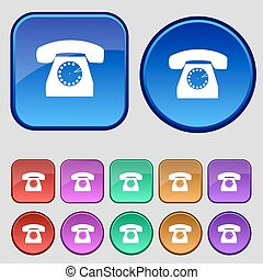 retro, teléfono, tela, icon., conjunto, colorido, buttons.,...