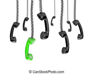 Draht, hart, telefon, abbildung, anschluss, land, wörter, linie, 3d.