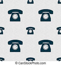 retro, telefone, ícone, símbolo., seamless, abstratos, fundo, com, geomã©´ricas, shapes.