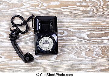 retro, telefone, ligado, enfraquecido, madeira, superfície