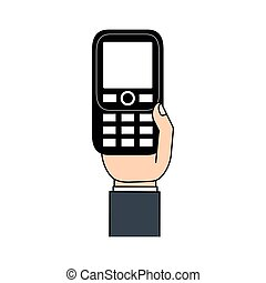 retro, telefone móvel, em, mão