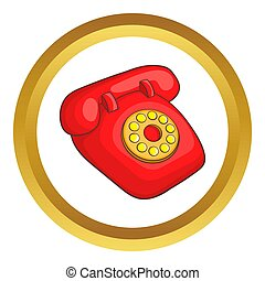 retro, telefone vermelho, ícone
