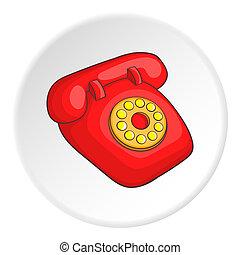 retro, telefone vermelho, ícone, caricatura, estilo