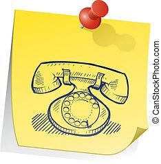 retro, telefono, nota appiccicosa