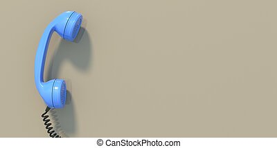 Retro telephone, blue old phone handset on beige wall background, copy space. 3d illustration