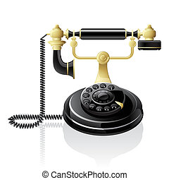 Retro telephone - Vector black telephone. Retro style