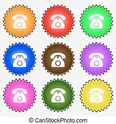 Retro telephone icon sign. A set of nine different colored labels. Vector