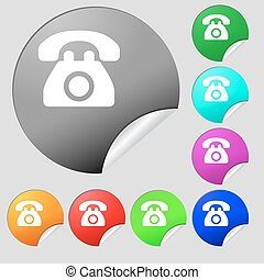 Retro telephone icon sign. Set of eight multi-colored round buttons, stickers. Vector