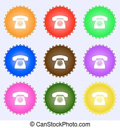 Retro telephone icon symbol. A set of nine different colored labels. Vector