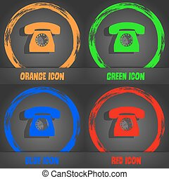 Retro telephone icon symbol. Fashionable modern style. In the orange, green, blue, red design. Vector