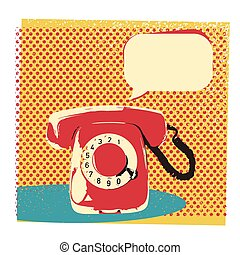 Retro telephone illustration with bubble for text