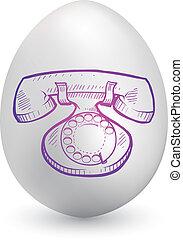 Retro telephone on easter egg - Doodle style retro telephone...