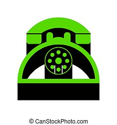 Retro telephone sign. Vector. Green 3d icon with black side on w