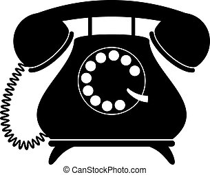 Retro telephone. Silhouette, black on white. EPS 8, AI, JPEG
