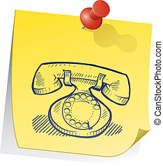 Retro telephone sticky note