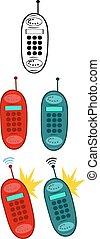 retro, telephone., verzameling