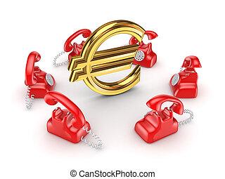 Retro telephones around golden euro sign.