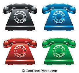Set of 4 color retro telephones.