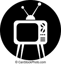 retro, televízió díszlet, vektor, icon.