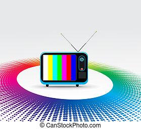 Retro television with grunge rainbow halftone background
