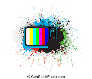 Retro television with grunge music theme, vector...